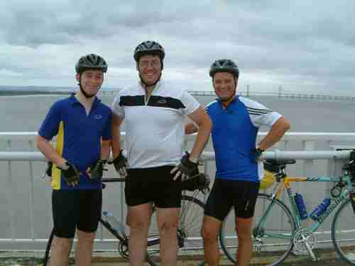 Tom Mark and Keith on the Severn Bridge