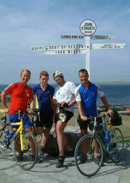 Lejog, the finish photograph at John O'Groats