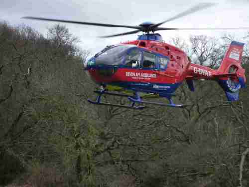 Devon Air Ambulance landing at the Torbay Classic car trial