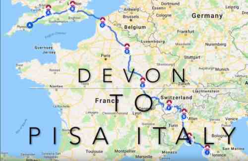 Our route from Devon to Pisa