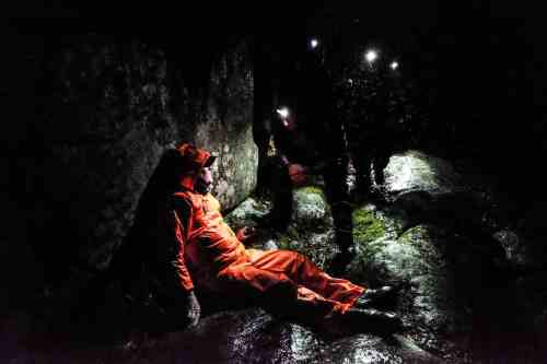 Dartmoor Search and Rescue team members finding an injured walker