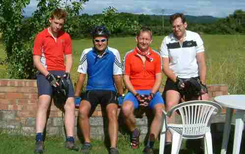 The boys pose before the start of day 5 of their LEJOG