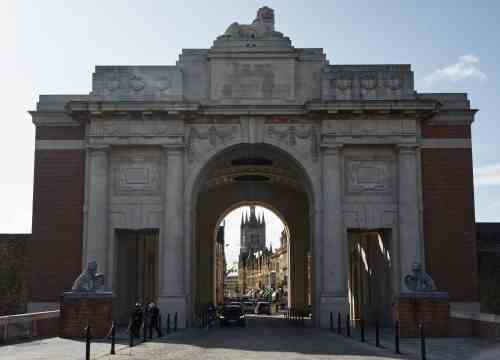 The impressive Menin Gate at Ypres (Ieper), Flanders, Belgium, memorial to the fallen whose bodies were never found during WW1