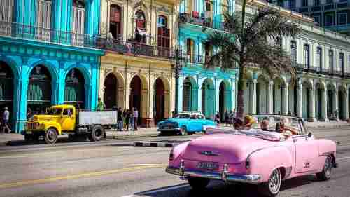 Vibrant colours from Havana's old buildings and classic 1950s American cars